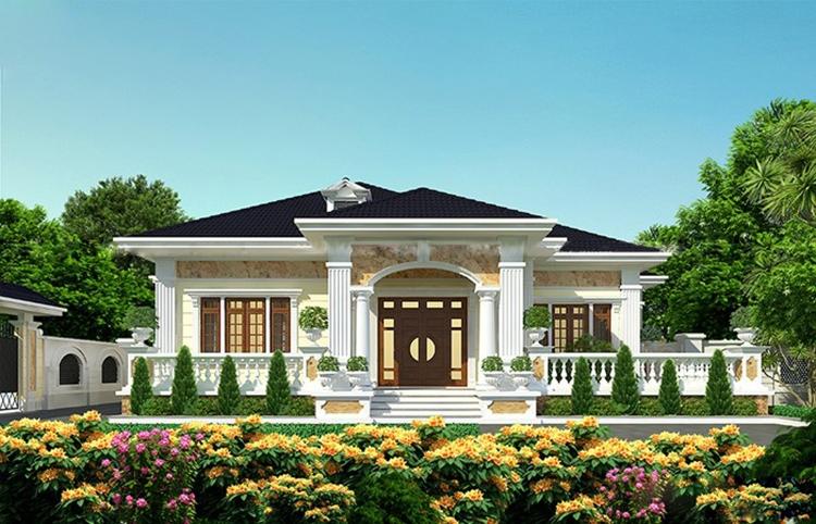 Mẫu biệt thự một tầng mái Thái