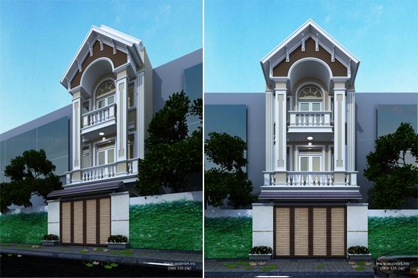 Mẫu nhà phố hai tầng mặt tiền 5m