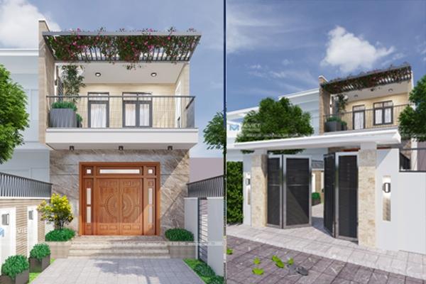 Mẫu nhà phố mặt tiền 5.5m hai tầng