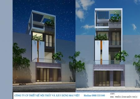 Tư vấn thiết kế nhà phố hiện đại mặt tiền 5m tại huyện Hóc Môn, Tp.HCM