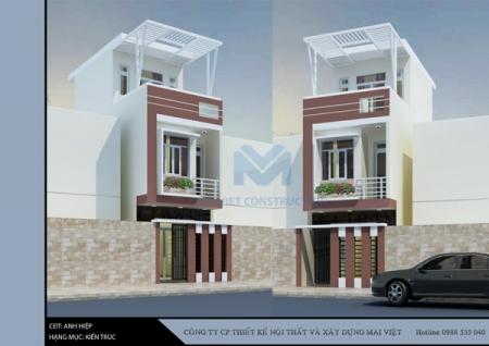 Mẫu nhà phố 2 tầng 4m mặt tiền