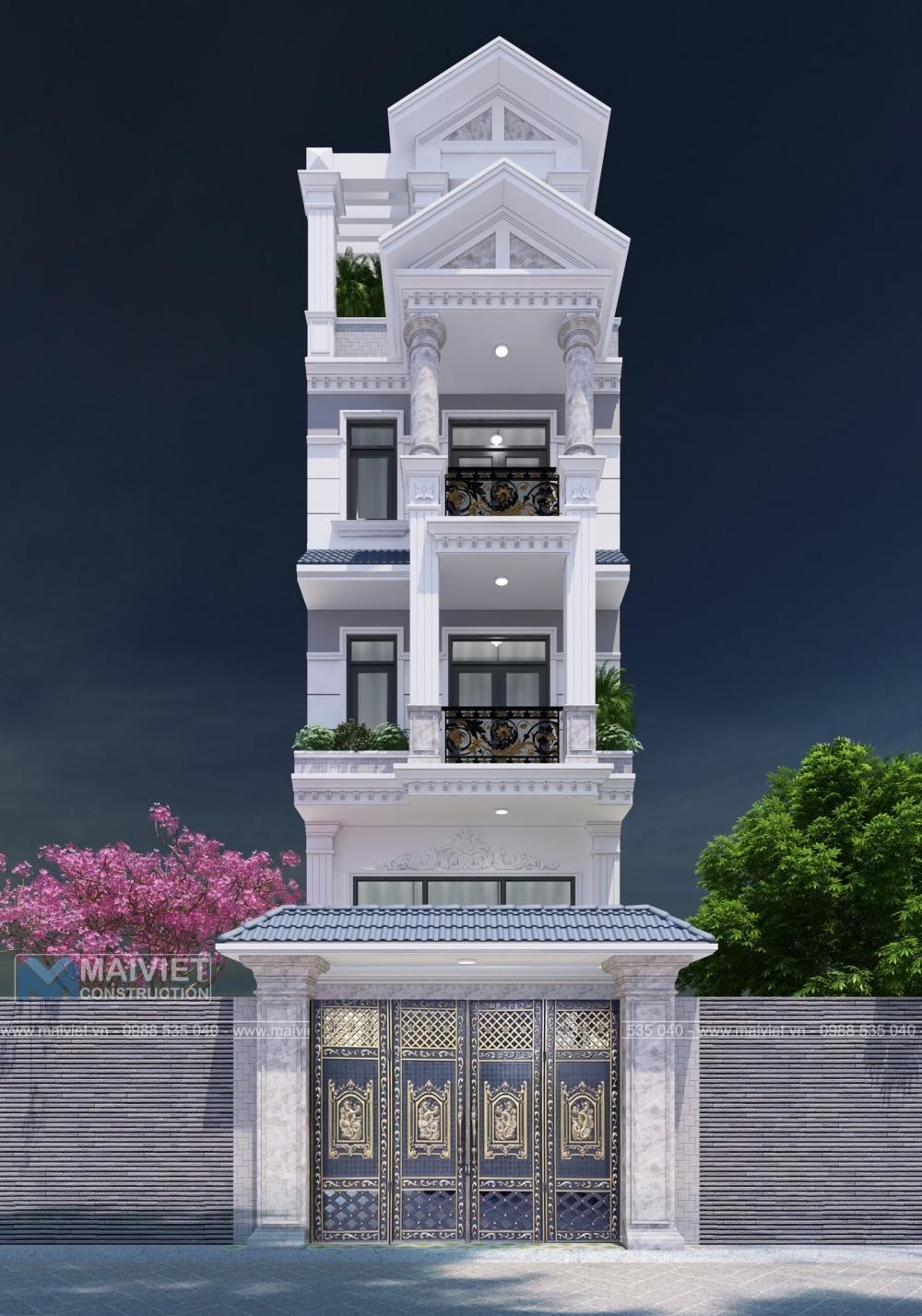 Thiết kế nhà phố cổ điển mặt tiền 5m