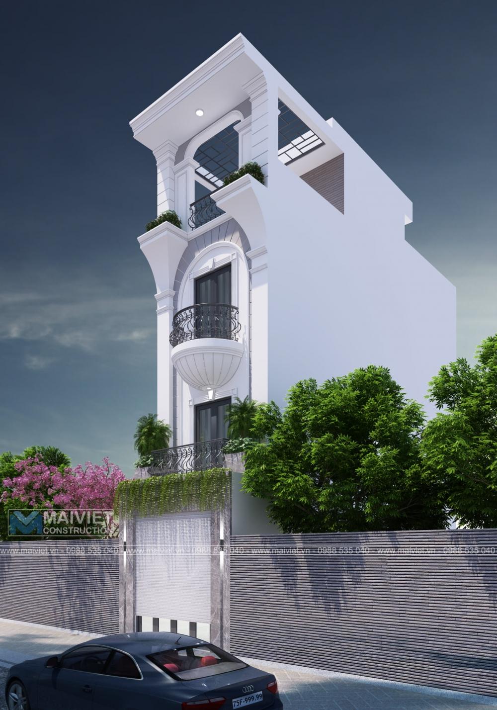 Thiết kế nhà phố mặt tiền 4m.