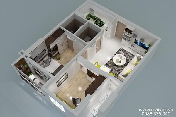 Thiết kế và thi công căn hộ chung cư hai phòng ngủ