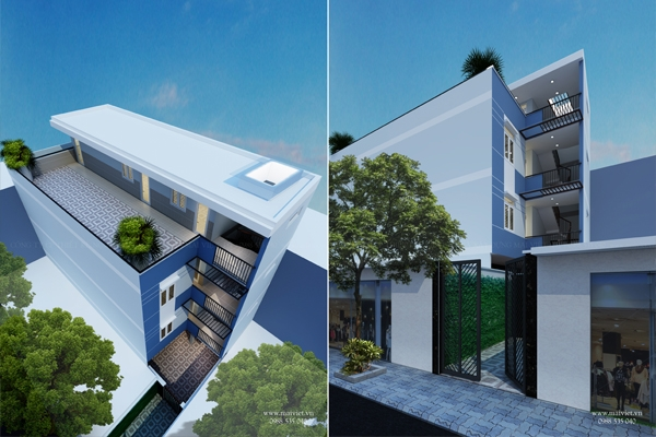 Thiết kế và thi công nhà ở kết hợp phòng cho thuê.